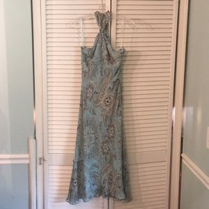 Halter sundress with floral/paisley pattern